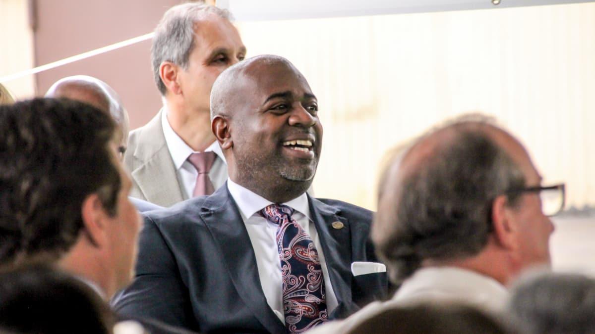 AeroFarms Groundbreaking Ras Baraka smiling