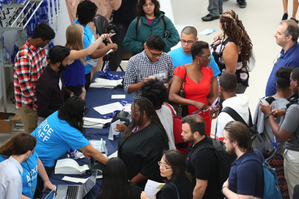 Voice Summit attendees registering